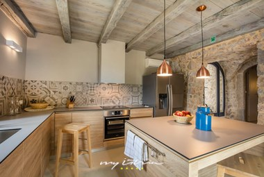 Stylish fully equipped kitchen in the villa