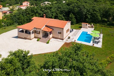 View from above on the beautiful villa Bozac with private pool