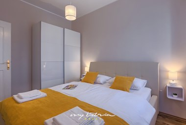 Modern, colorful bedrooms of Villa DD in central Istria