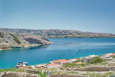 Amazing view on the blue sea and natural beaches of Pag island