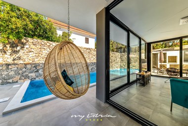 Chill area next to the private pool in modern villa Petra on Bol island