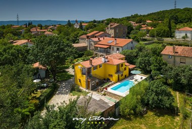 View from above on the villa Mikales located in the village Cepic in Istria