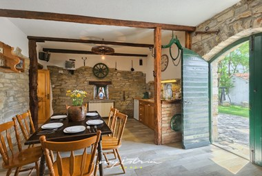 Charming stone tavern with little kitchen, grill fireplace and table for 6 persons in villa Mikales