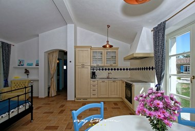 Airy living and eating area with equipped kitchen in Villa Dvori na Brigu near Pazin
