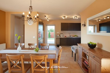 Bright and elegant kitchen and dinning area