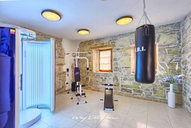 Well equipped fitness room on the ground floor of the 4th house in our holiday villa in Central Istria