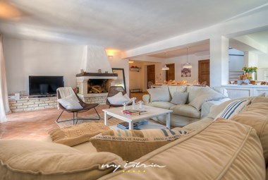 Beautifully decorated living room with large fireplace in Villa Oxalis