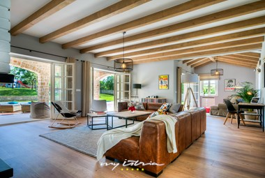 Stylish open plan living area in Villa Edison in Istria