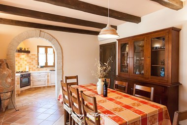Elegant kitchen and dining area on the ground floor of the villa