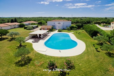 Large pool and tended garden of our villa in Istria