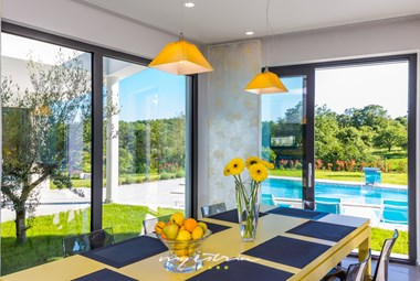 Beautiful dining area in our luxury villa with pool
