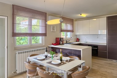 Modern kitchen with dining area in Villa Edelweiss in Opatija