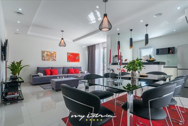 Stylishly decorated open plan ground floor of the villa