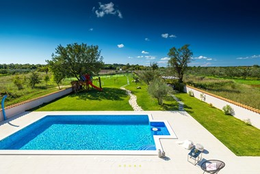 Panoramic view over the countryside from luxurious Villa Campi