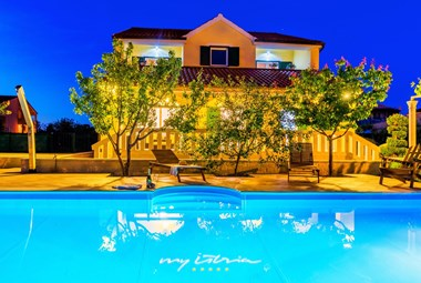 Enchanting Villa Mirjana with private pool by night