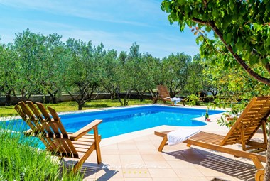Private pool with sun loungers and beautiful garden with olive trees in Villa Mirjana