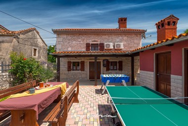 Outdoor dining area, table football and table tennis at your disposal