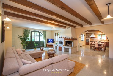 Spacious interior of Villa Kringa in Istria