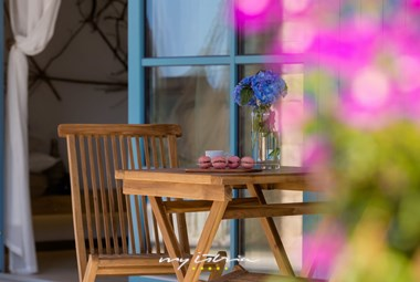 Villa has a nice terrace with dining area and charcoal barbecue
