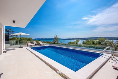 Modern pool area with stunning view from villa in Kvarner