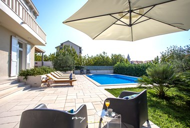 Fabulous terrace in front of villa with stunning pool