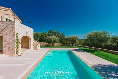 Inviting large pool in midst of old olive trees