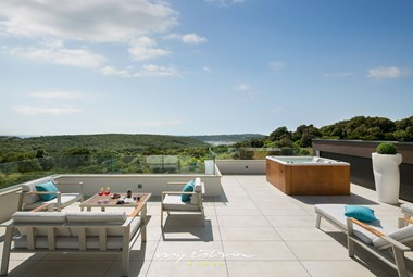 The panoramic top floor terrace in our luxury villa