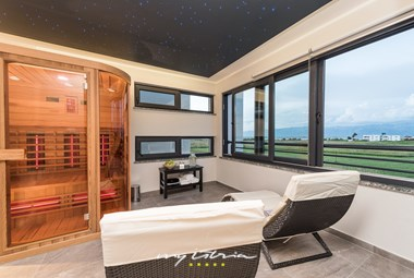 Villa´s sauna and wellness area with a view