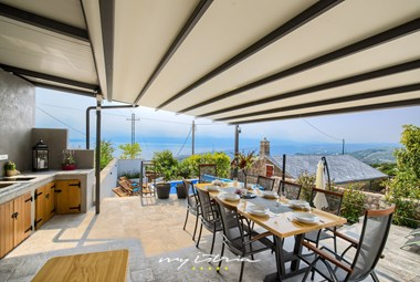 Outside dining area with lovely sea view at Villa Leticija