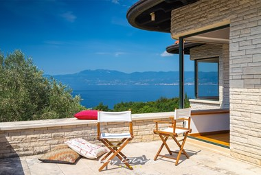Beautiful terrace with sea view from Villa Kamik in Kostrena