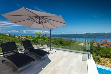 Deck terrace with sun loungers and breath taking sea view - Villa Istra Panorama near Opatija