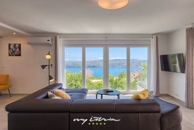 One of the living rooms with beautiful sea view in Villa Istra Panorama near Opatija