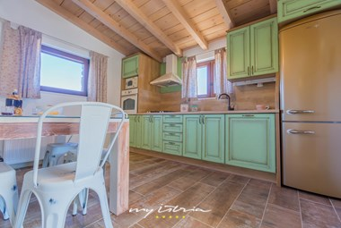 The well equipped rustic kitchen in our villa with pool near Makarska