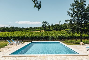 The beautiful pool in the garden of Villa Kanedolo in Central Istria