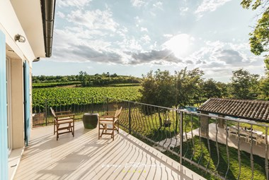 Magnificent view over the surrounding vineyards from the terrace in Villa Kanedolo in Central Istria