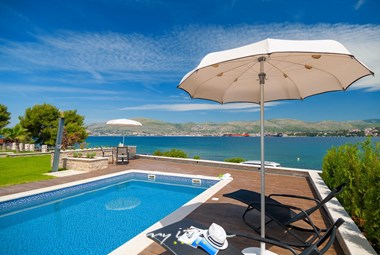Beautiful pool area of the villa with sea view