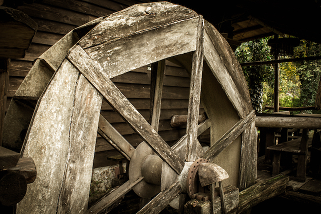 a-black-and-white-picture-of-an-old-wooden-mill-in-Rastoke-village