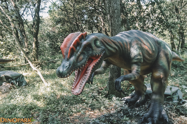 real-size-dinosaur-in-a-lush-forest-located-in-Dinopark-Funtana-in-Istria