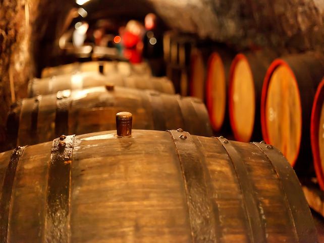wooden barrels arranged along the sides of a natural stone wine cellar