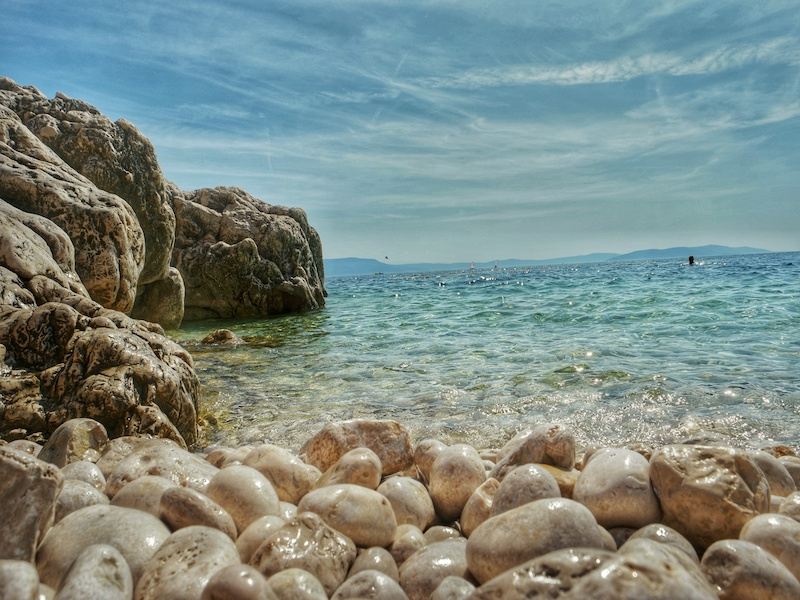 The former fishing village of Rabac: beautiful round pebble & crystal clear sea