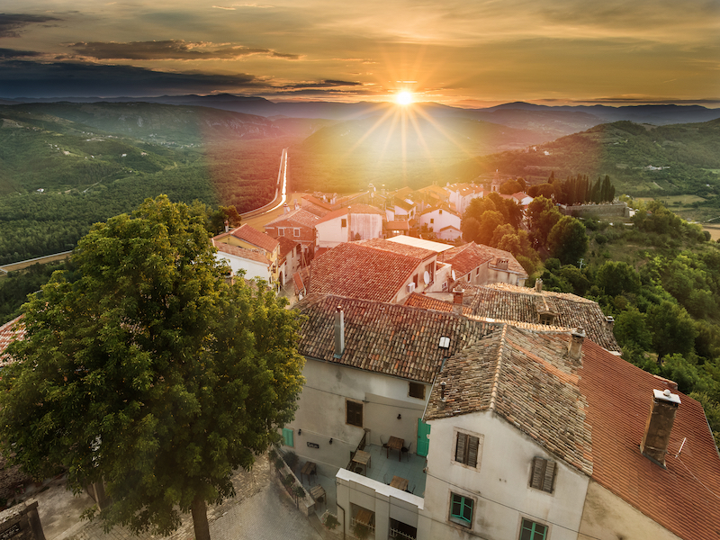 Sunrise in beautiful Motovun surrounded by green fields in central Istria