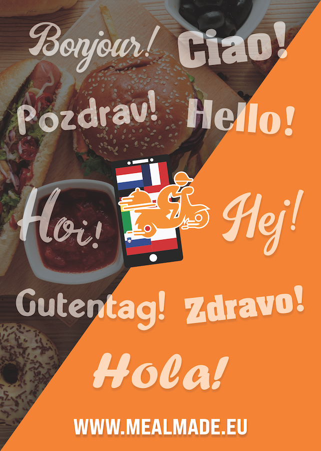 a flyer for mealmade with food on the cover and words in different languages