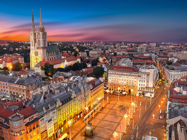 view-from-above-at-night-at-Zagreb-main-square-in-continental-Croatia