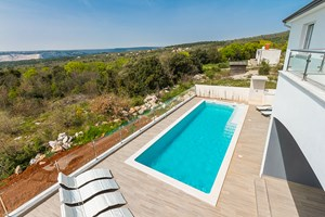 Villa White Gem View on the pool from Villa in Istria